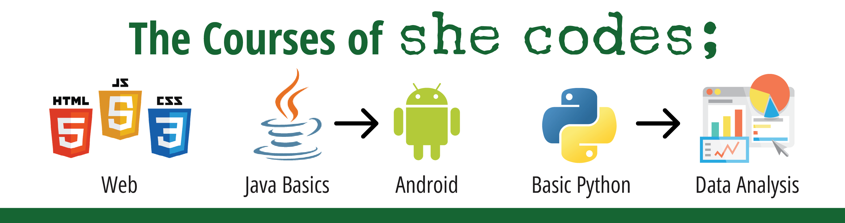 she codes; courses